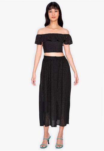ZALORA BASICS black Button Front Midi Skirt 45710AA6E57335GS_1