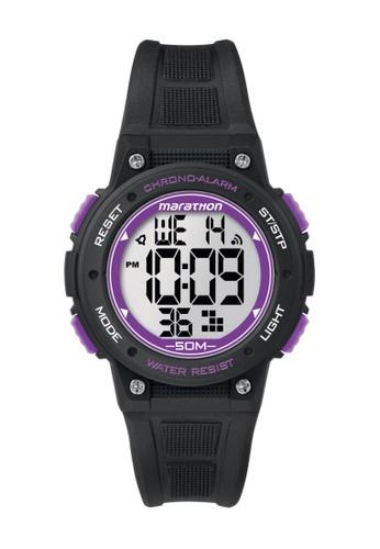 TIMEX black Timex Marathon® - Digital Mid-Size Black Resin Strap Watch TI857AC78COFSG_1
