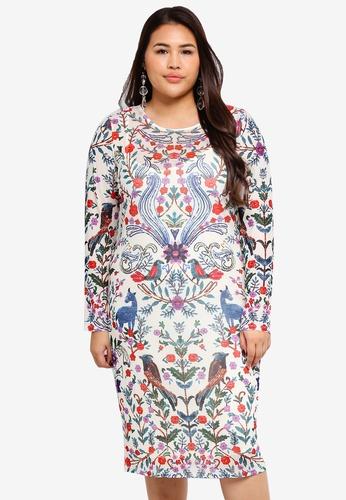 44d4ee436d4b Eloquii multi Plus Size Printed   Embellished Shift Dress 5E74CAAB1A9308GS 1