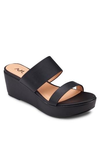 雙帶厚底楔zalora taiwan 時尚購物網型涼鞋, 女鞋, 鞋