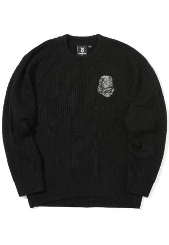 Fingercroxx black Bigfoot ribbed sweater 97614AA31C5D62GS_1
