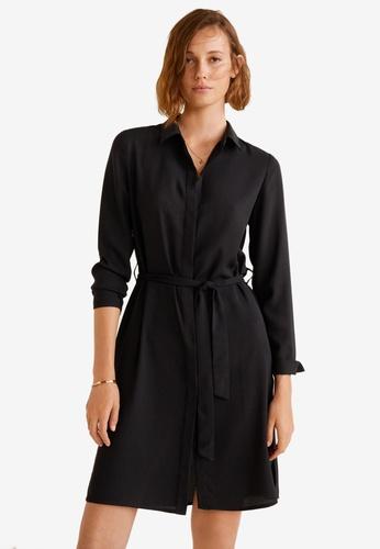 MANGO black Bow Shirt Dress 96118AAC34E3B4GS_1