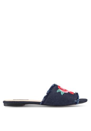 ZALORA blue Embroidered Sandals 94CE2ZZ5E7E676GS_1