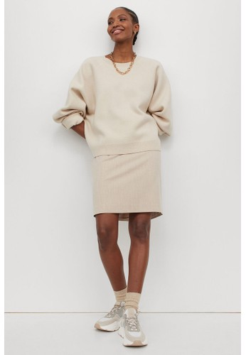 H&M beige Pencil skirt AD3EDAA69487A2GS_1