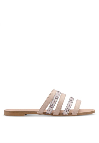 ZALORA beige Multi Straps Slip On Sandals 0D583SH14FA3FAGS_1