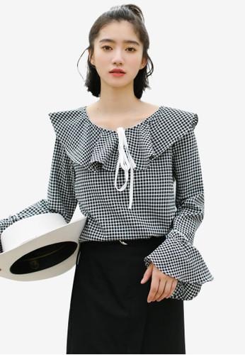 Shopsfashion black Checked Ruffle Blouse FE1A8AA6C67224GS_1