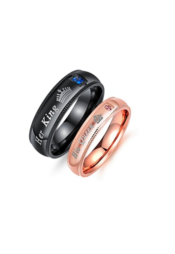 ADORA black Stainless Steel Couple Rings AD743AC1C87000GS_1