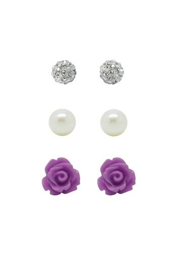 Fur Nyce purple Sparkling Elegant Pearl Rose Garden Stud Earring Set FU779AC43NSAMY_1