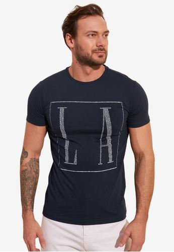 Trendyol navy Slim Printed T-Shirt F3B39AAC6BD5CFGS_1