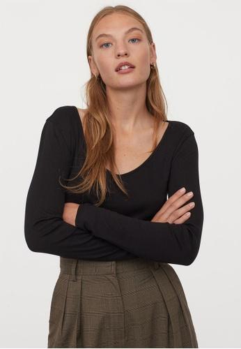 H&M black Ribbed Cotton Top E14EEAA299B219GS_1
