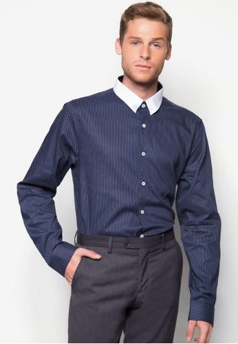 撞色領點點長袖襯衫, 服飾, 襯esprit 品牌衫