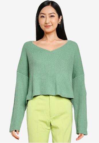 JEANASIS green Wide Neck Knit Sweater 27F3BAADB288C8GS_1
