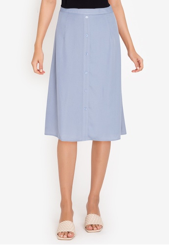 ZALORA BASICS blue Button Drape Skirt 54D23AA32B2273GS_1