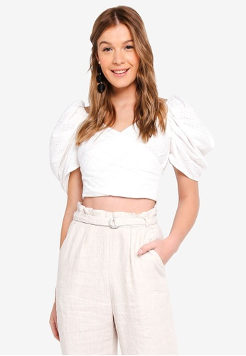 MDSCollections white Orabelle Puff Top In Off White 0E80EAAEBB9D29GS_1