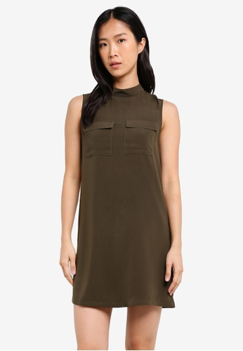 ZALORA green High Neck Dress With Utility Pocket 8CE15AA70A2BE5GS_1