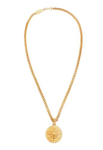 KUZZOI gold Perhiasan Pria Perak Asli - Silver Kalung Compass Solid Lapis Emas 0CDDAAC1B12793GS_1