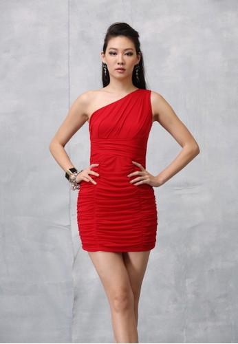 性感斜肩彈性zalora 包包評價網布抓皺合身短洋裝, 服飾, 短洋裝