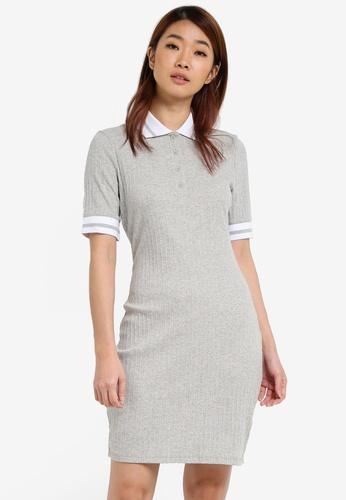 ZALORA grey Rib Polo Dress 61DD3AA3D09E70GS_1