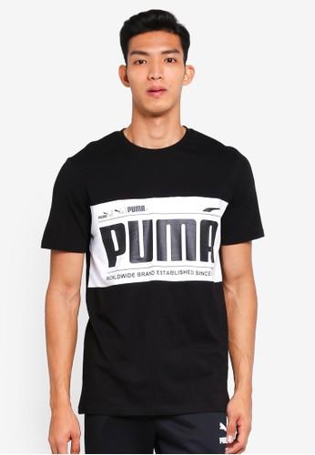 Puma black and multi Sportstyle Prime Graphic Logo Block Tee 48CCDAA8AEE470GS_1