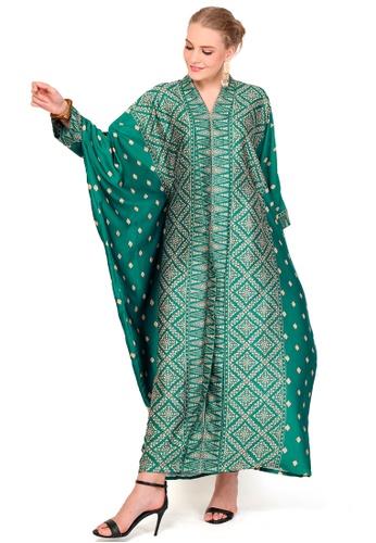 Kanzi by liza yahya green Kanzi Exclusive Long Sleeve Songket Kaftan 5C662AA88360E8GS_1