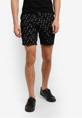 ZALORA black Printed Cotton Shorts F1975AA287B3C0GS_1