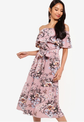 ZALORA pink and multi Off Shoulder Midi Dress 73439AAEB03258GS_1
