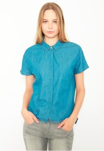 DENIZEN blue DENIZEN Women's Collar Top with Fray Edge - Crystal Blue (Denim) DZ-59044-0807 9FE83AAA0664C1GS_1