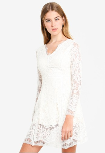Eyescream white Lace Fit And Flare Dress A3A04AA2D3BB2DGS_1