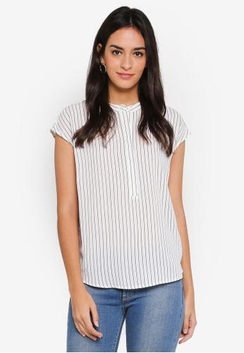 WAREHOUSE white Stripe Button Side Blouse 33827AA56C65CDGS_1