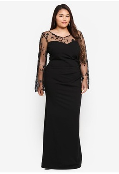 7ca78aca381 Psst... we have already received your request. Goddiva. Plus Size Lace Long  Sleeve Maxi Dress
