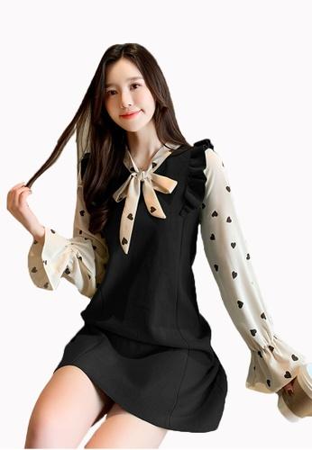Halo black Colour Block Knit Shift Dress CBAE9AACF8C5EDGS_1