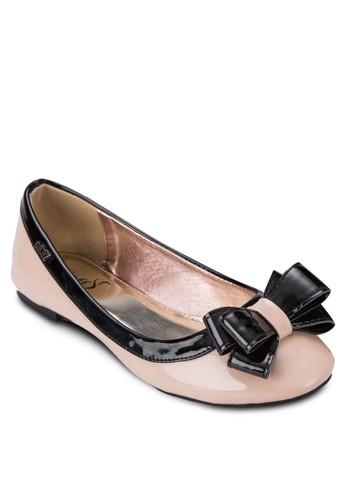 拼色蝴蝶結休閒平底鞋, 女zalora 衣服評價鞋, 芭蕾平底鞋