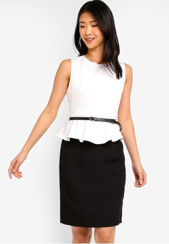 ZALORA BASICS white and multi Basic Peplum Fitted Dress With Belt 65546AAE25F045GS_1
