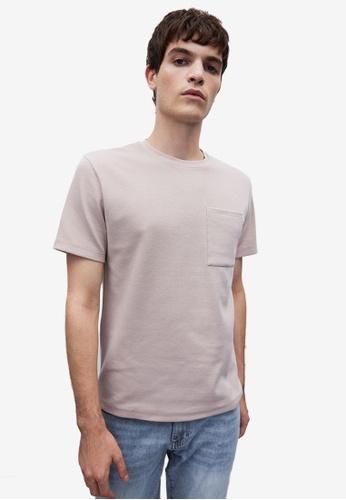 URBAN REVIVO beige Pocket T-Shirt 89C8DAAD58E2ECGS_1