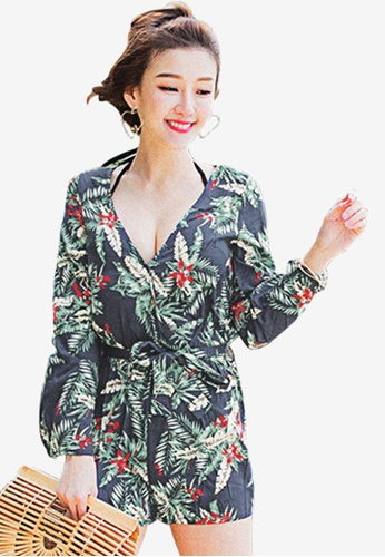 Tokichoi multi and navy Floral Flare Sleeves Romper 1D2D1AA92C4FAAGS_1