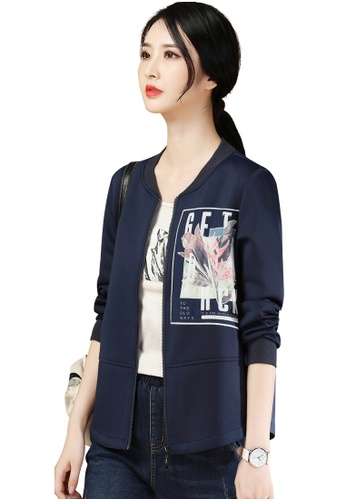 A-IN GIRLS navy Simple Stand Collar Printed Jacket 725E2AAEFDCC24GS_1