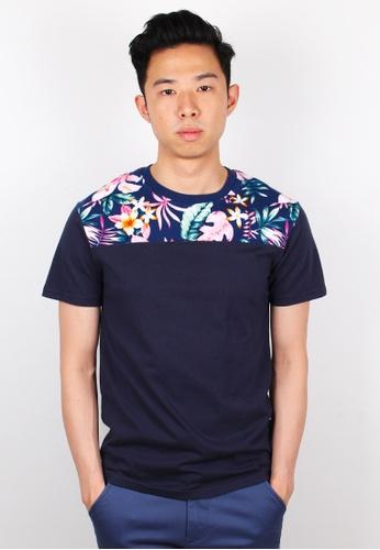Moley navy Floral Print T-Shirt MO329AA0FI54SG_1
