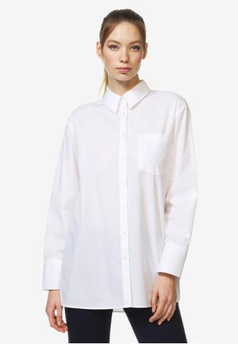 United Colors of Benetton 白色 純棉下擺開岔襯衫 BA733AA5280DE3GS_1
