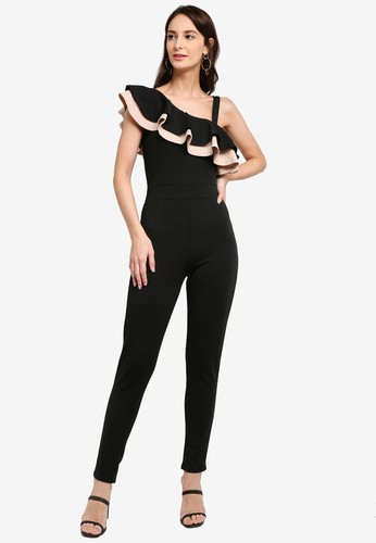Quiz black Frill Jumpsuit With Strap 9AB7EAA63ACF74GS_1