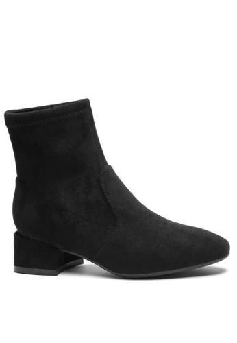 Twenty Eight Shoes 黑色 彈力猄布踝靴2028-1 F6BC3SH7340311GS_1