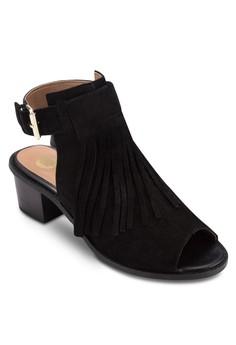 Fringe Peeptoe Block Heel Sandals