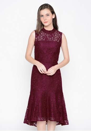 A & D red A&D Ladies Long Dress Brokat Ms 989 - Maroon AD532AA0VYZWID_1