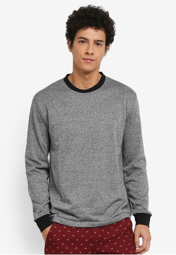 Penshoppe grey Relaxed Fit Paneled Sweatshirt A7648AA6C24809GS_1