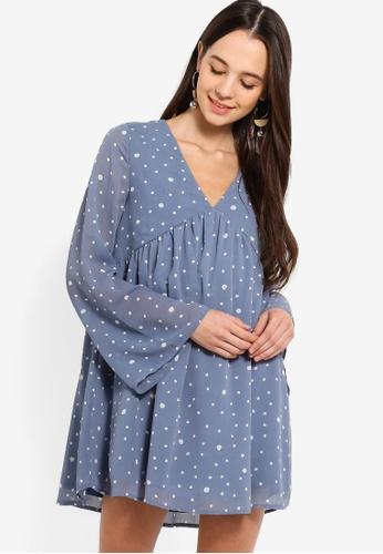 Something Borrowed blue Long Sleeves Babydoll Swing Dress 7443EAA66FDCE3GS_1