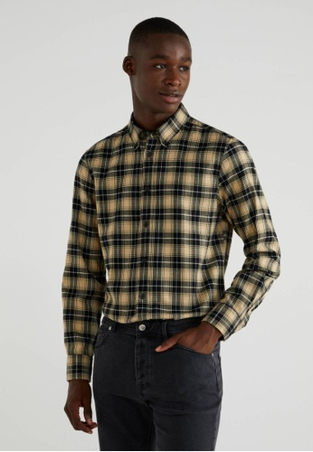 United Colors of Benetton brown Slim Fit Checked Shirt 2C9CAAA420A307GS_1