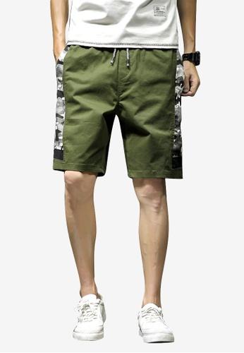 hk-ehunter 綠色 男裝拼接迷彩短褲 3C58EAA79C998EGS_1