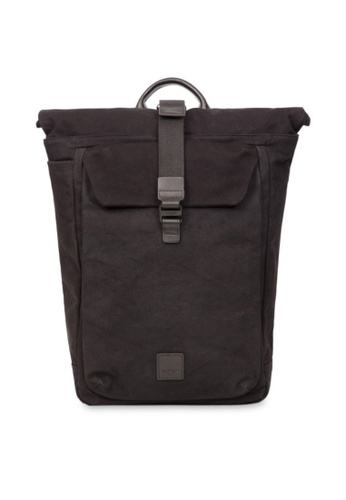 "knomo black Novello 15"" Roll Top Backpack (Black) EBFD4AC907EDFFGS_1"
