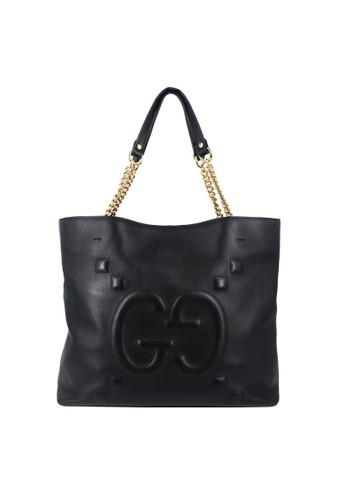 Gucci black Gucci Apollo Gg Embossed Leather Tote Black 30B26ACE0AB3FBGS_1