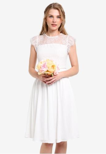 ZALORA white Bridesmaid Lace Yoke Dress with Embellished Waistband E80ECZZ9C7F341GS_1
