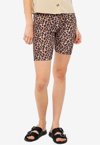 Pieces 黑色 豹紋單車短褲 4EADBAA71356A0GS_1